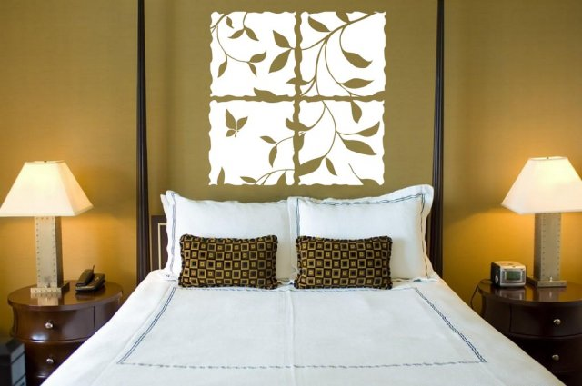 Beautiful leaves and butterfly wall window vinyl design for Sticker chambre adulte
