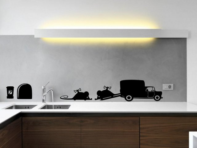 Designer Toy Mice With Car And Mouse Hole Funny Wall Sticker