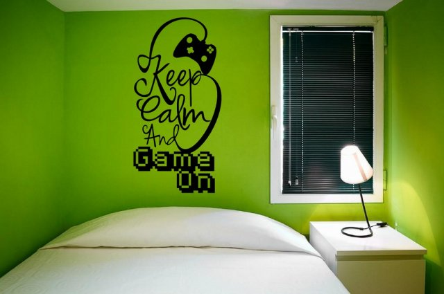 Designer Keep Calm And Game On Gamer Room Wall