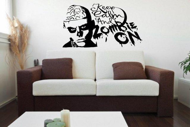 Designer - u0027Keep Calm and Zombie Onu0027 - Vinyl Wall Sticker & Designer - u0027Keep Calm and Zombie Onu0027 - Apocalyptic Vinyl Wall ...
