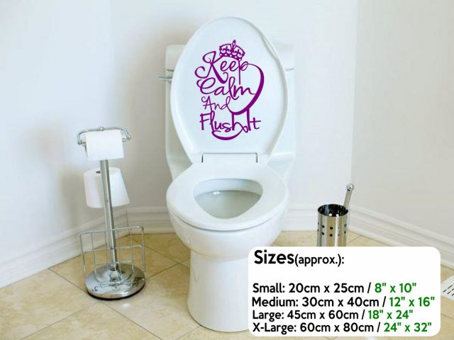 Designer Keep Calm And Flush It Toilet Wall Sticker Wall - Toilet wall stickers