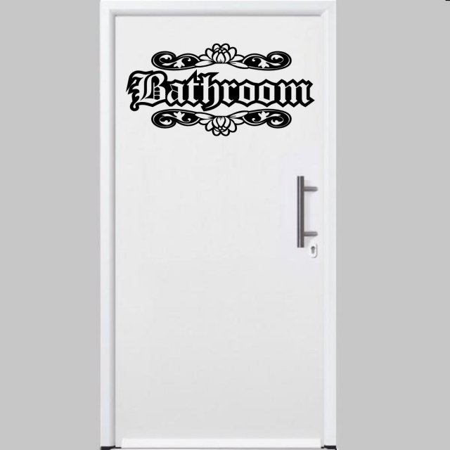 Bathroom Door Stickers : Designer bathroom door wall ornamental sticker