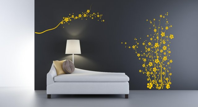 japanese flowers giant wall sticker | wall stickers store - uk shop