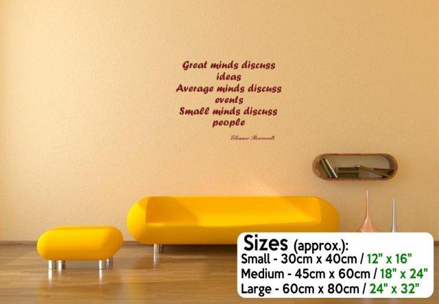 JC Design \'Great minds discuss ideas...\' - Motivational Vinyl Wall ...