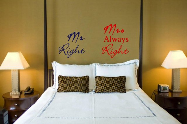 JC Design Mr Right and Mrs Always Right Funny Wall Stickers