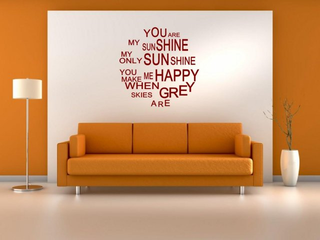 jc design 39 you are my sunshine my only sunshine 39 lovely wall decoration wall stickers store. Black Bedroom Furniture Sets. Home Design Ideas