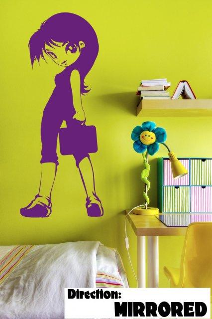 cute manga girl - kids / teenager room wall decor   wall stickers