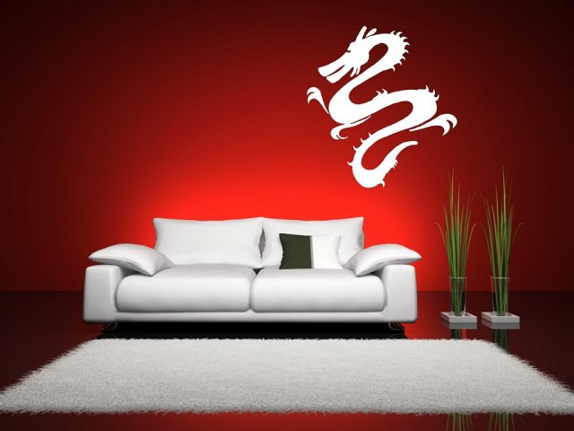 Oriental dragon wall mural wall stickers store uk shop for Dragon wall mural