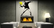 Banksy Style Flower Thrower Vinyl Pattern