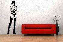 Banksy Style Sexy Girl & Teddy Bear Wall Decor