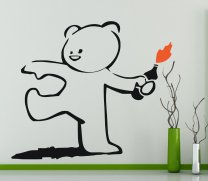 Banksy Style Molotov-throwing Teddy Bear Vinyl Decal