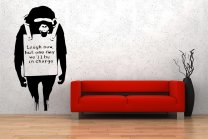 Banksy Style Monkey Laugh Now Vinyl Stickers
