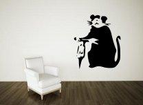 Banksy Style Hammer Rat Wall Decor