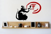Banksy Style Sonar Rat Art Sticker