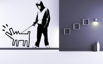 Banksy Style Hoody Man with Haring Dog Art Stickers