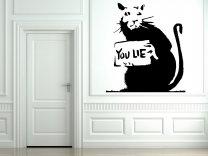 Banksy Style Rat 'You Lie' Art Decor