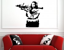 Banksy Style 'Mona Lisa with Bazooka' Vinyl Wall Sticker