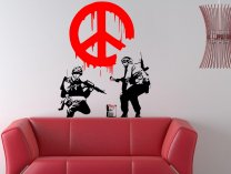 Banksy Style 'CND Peace Sign Soldiers' Art Vinyl Sticker