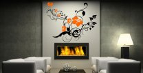 Swirly Vine Flowers - Colourful Large Vinyl Wall Decor Art Stickers