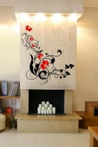 Colourful Vine Flowers And Swirls - Large Vinyl Wall Art Stickers