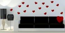 16 x HEART Wall / Car / Laptop / Kid's Room Stickers