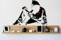 Banksy Style Hoodie With Knife (version 1) - Large Wall Sticker