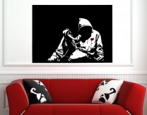 Banksy Style Hoodie With Knife (version 2) - Large Vinyl Wall Sticker