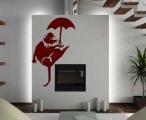 Banksy Style Umbrella Rat - Art Wall Decor