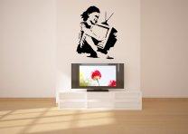 Banksy Style Television Girl / TV Girl - Vinyl Wall Sticker