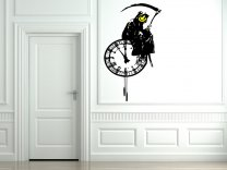 Banksy Style Grim Reaper On A Clock - Art Vinyl Decor