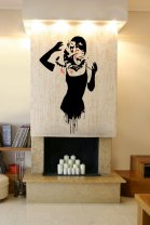 Banksy Style Audrey Hepburn Cat Attack - Vinyl Wall Decoration