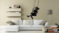 Banksy Style Swinging Girl - Large Wall Sticker