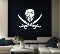 Pirate Anonymous Guy Fawkes Mask - Laptop / Car / Wall Sticker