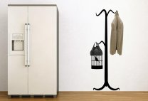 Old Style Coat Hanger with Bird Cage Wall Hooks Decal