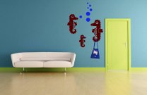 Three Seahorses With Air Bubbles Wall Hooks Decal