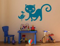 Cute Cat And Birds - Kids Room Wall Stickers