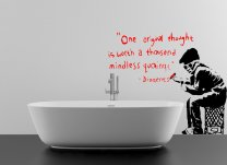 "Banksy Style ""One original thought is worth a thousand mindless quotings"" Wall Decal"