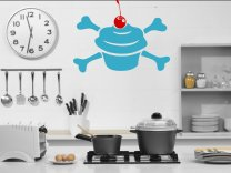 Cupcake crossbones with cherry wall decal