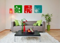 Flowers triptych decoration on the wall