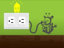 Wall Socket Robot Sticker
