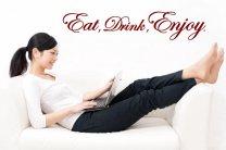Eat, drink, enjoy! Version 2 horizontal - Kitchen, dinning room wall sticker.