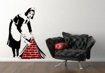 Famous Banksy Maid X-LARGE 90cm x 120cm Wall Sticker