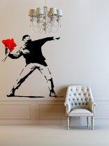 Banksy Flower Thrower LARGE Wall Sticker