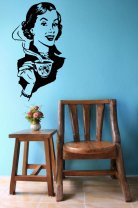 Retro Girl With Coffee Decal