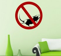 Banksy - No stopping sign with rat - Wall Sticker