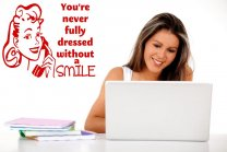 'You're never fully dressed without a Smile' - Retro Wall Sticker