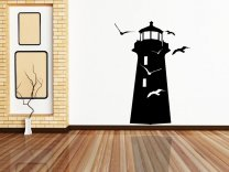 AMAZING LIGHTHOUSE WITH SEAGULLS BEDROOM WALL STICKER