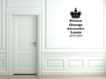 Royal Baby Prince George Alexander Louis with DOB Wall sticker