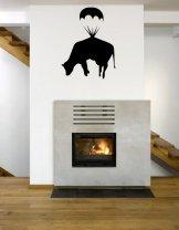 Banksy Cow Parachute - Funny Wall Decor
