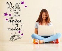 '... Never say Never' Justin Bieber Quote - Girls / Teenager Room Wall Sticker